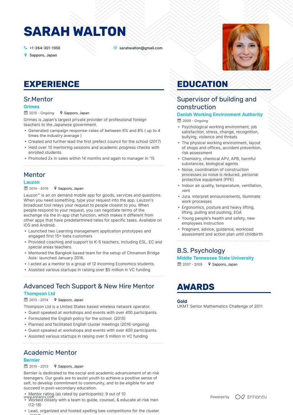 top mentor resume examples samples for enhancv mentoring experience on first job template Resume Mentoring Experience On Resume