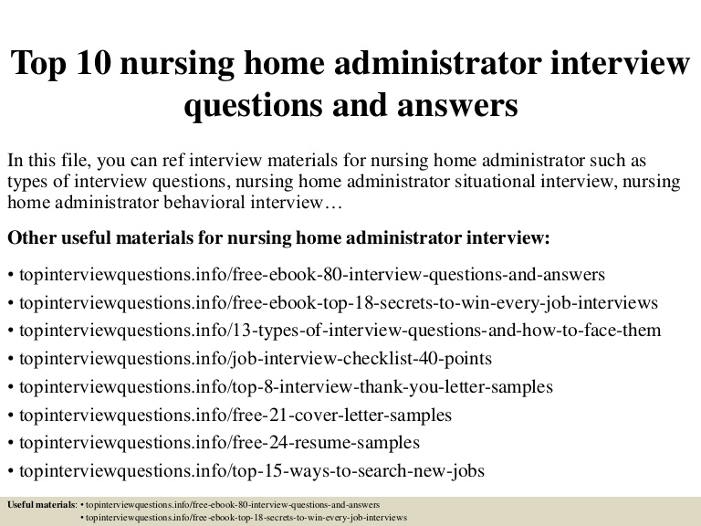 top nursing home administrator interview questions and answers entry level resume Resume Entry Level Nursing Home Administrator Resume