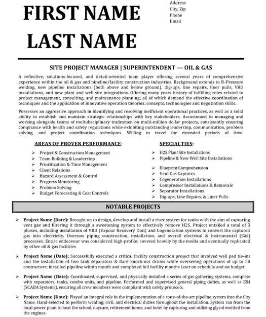 top oil gas resume templates samples free and og site project manager superintendent Resume Free Oil And Gas Resume Templates