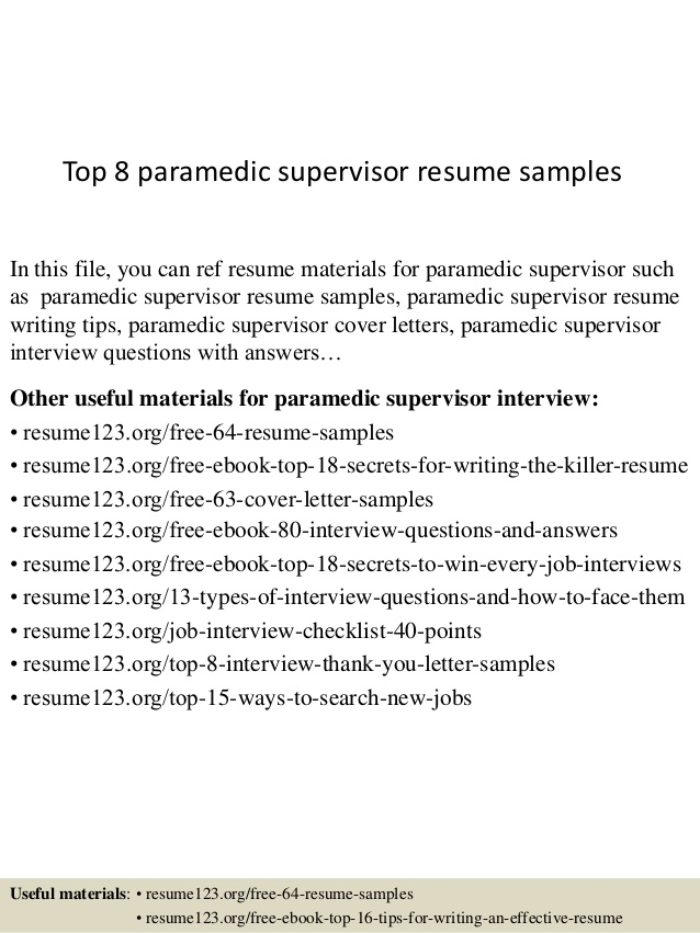 top paramedic supervisor resume samples crisis intervention specialist examples call Resume Paramedic Resume Samples