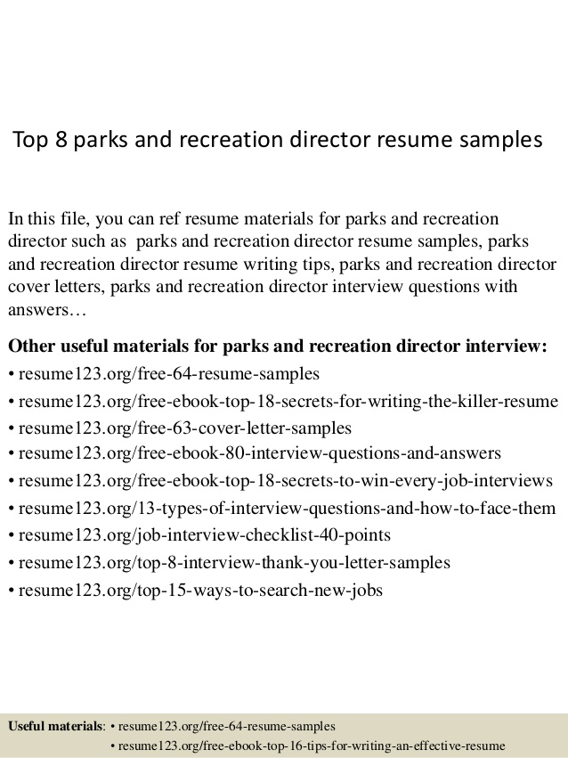 top parks and recreation director resume samples manager temporary administrative Resume Recreation Manager Resume