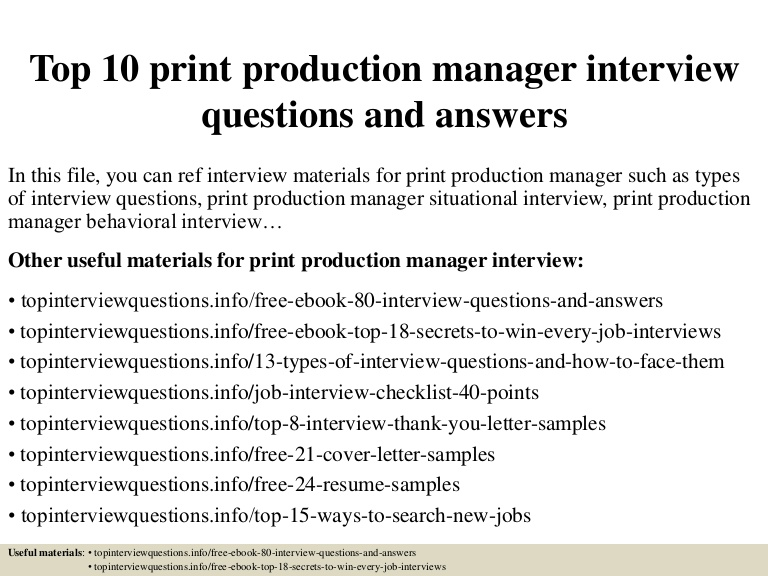 top print production manager interview questions and answers printing resume for Resume Printing Resume For Interview