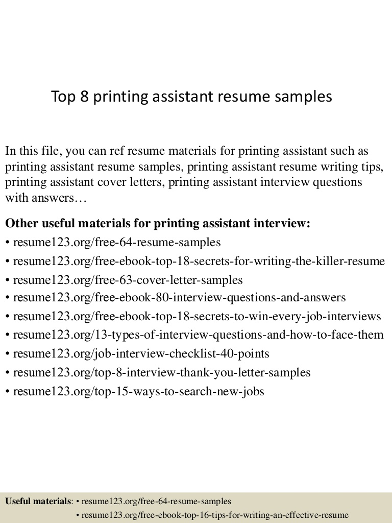 top printing assistant resume samples for interview top8printingassistantresumesamples Resume Printing Resume For Interview