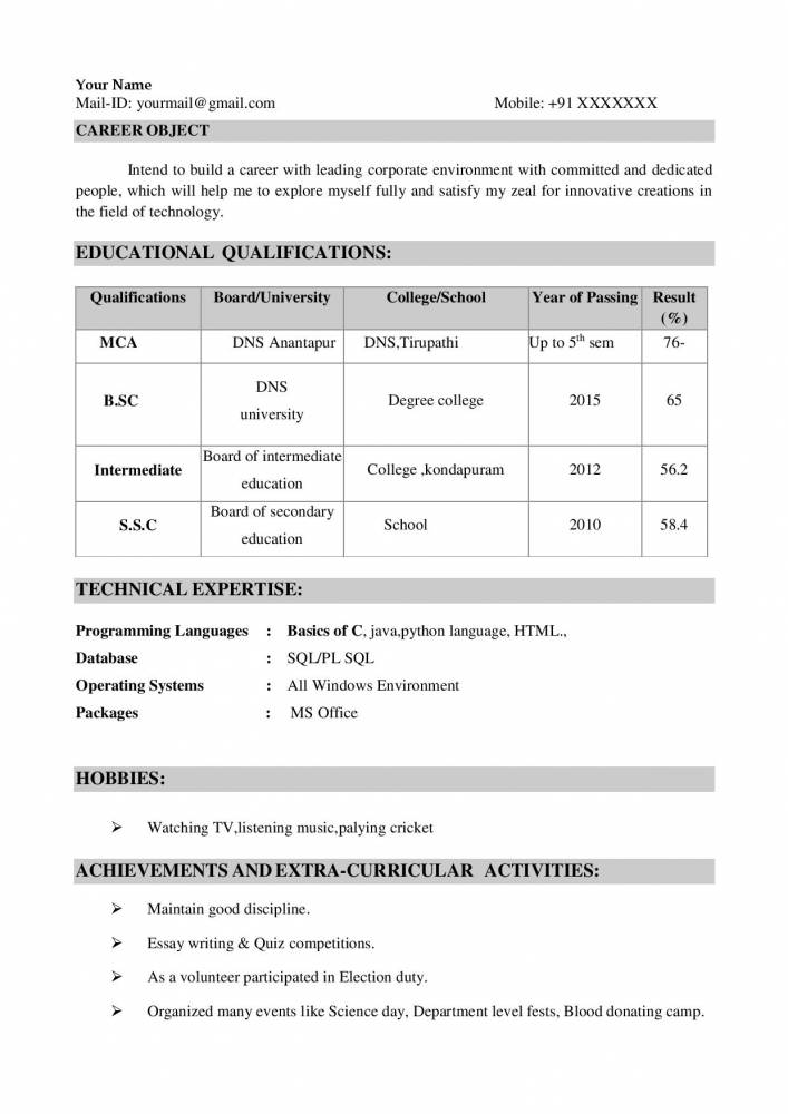 top resume format for freshers electronics and communications engineers samples projects Resume Activities For Resume For Freshers
