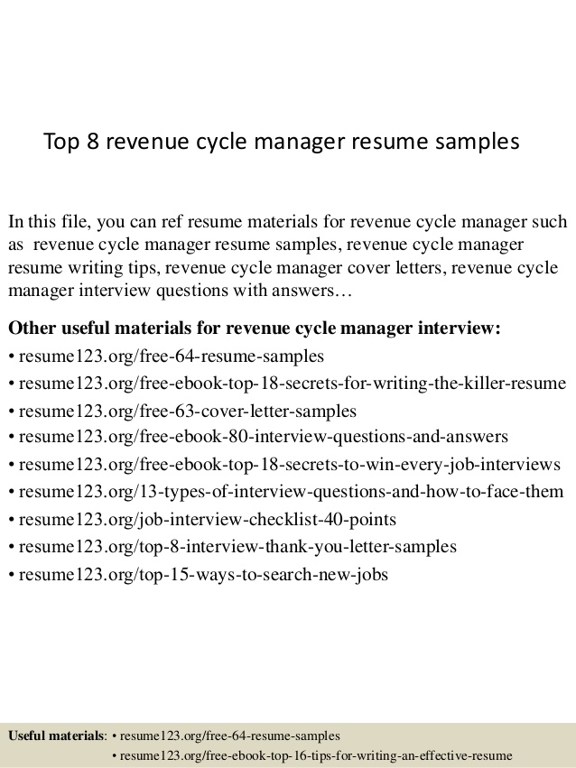 top revenue cycle manager resume samples listing self employment on nursing assistant Resume Revenue Cycle Manager Resume