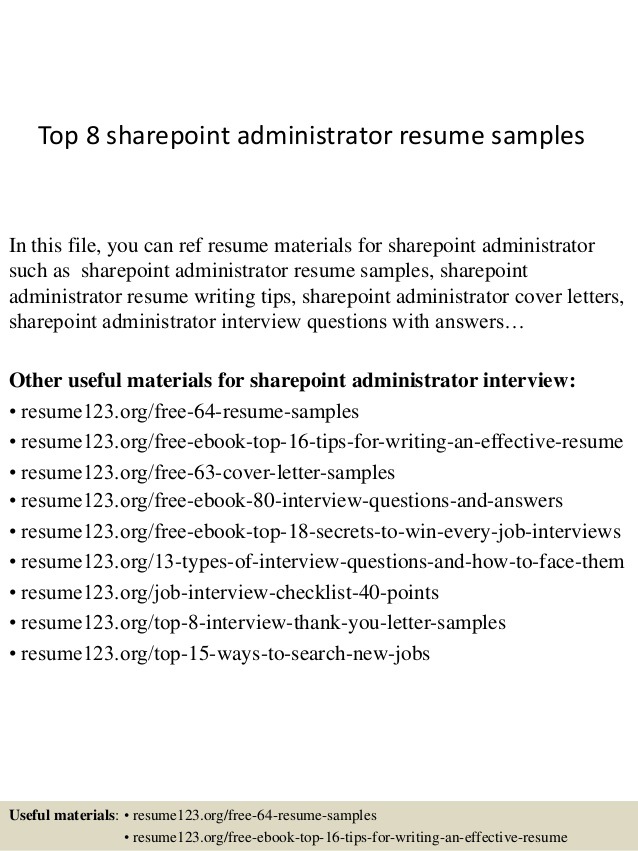 top sharepoint administrator resume samples experience on summary examples entry level Resume Sharepoint Experience On Resume