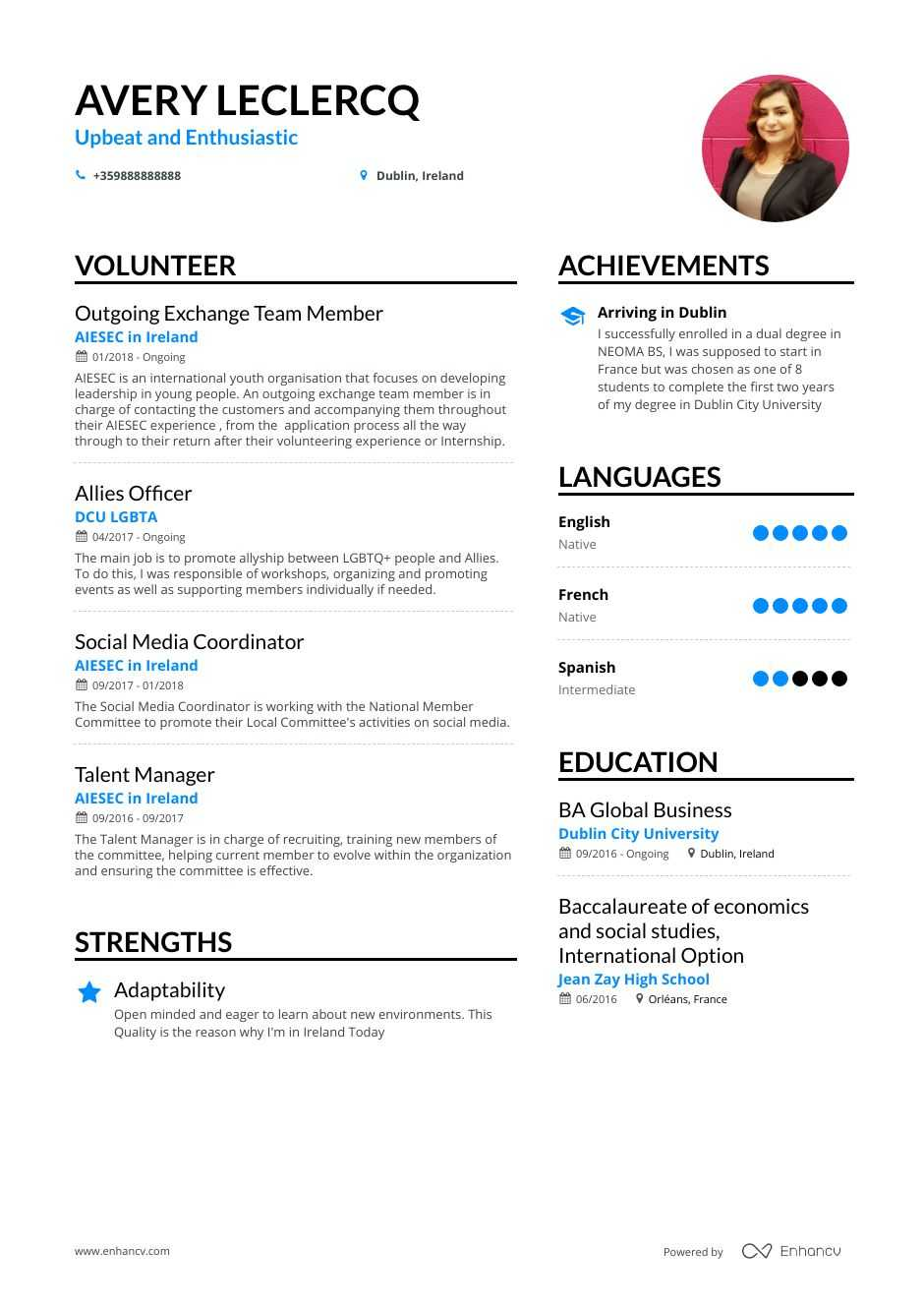 top volunteer resume examples samples for enhancv ideas adjectives and adverbs builder Resume Volunteer Ideas For Resume