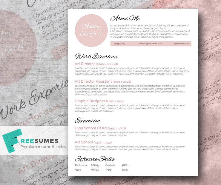 touch of pink beautiful free resume template freesumes elegant cv san samples software Resume Elegant Resume Template