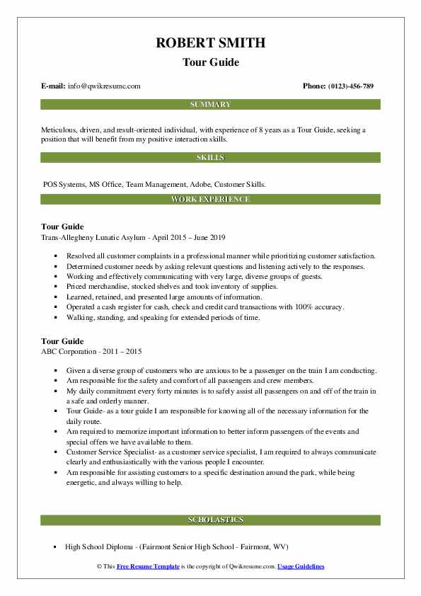 tour guide resume samples qwikresume sample objective for tourism students pdf cover Resume Sample Resume Objective For Tourism Students