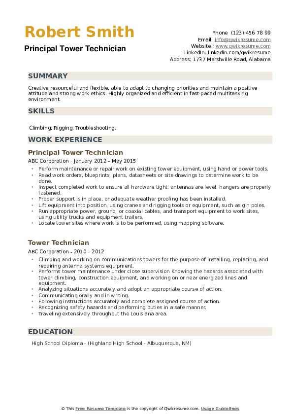 tower technician resume samples qwikresume cell pdf brand ambassador job description for Resume Cell Tower Technician Resume