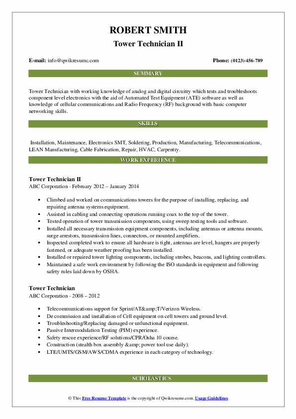 tower technician resume samples qwikresume cell pdf medication examples best Resume Cell Tower Technician Resume