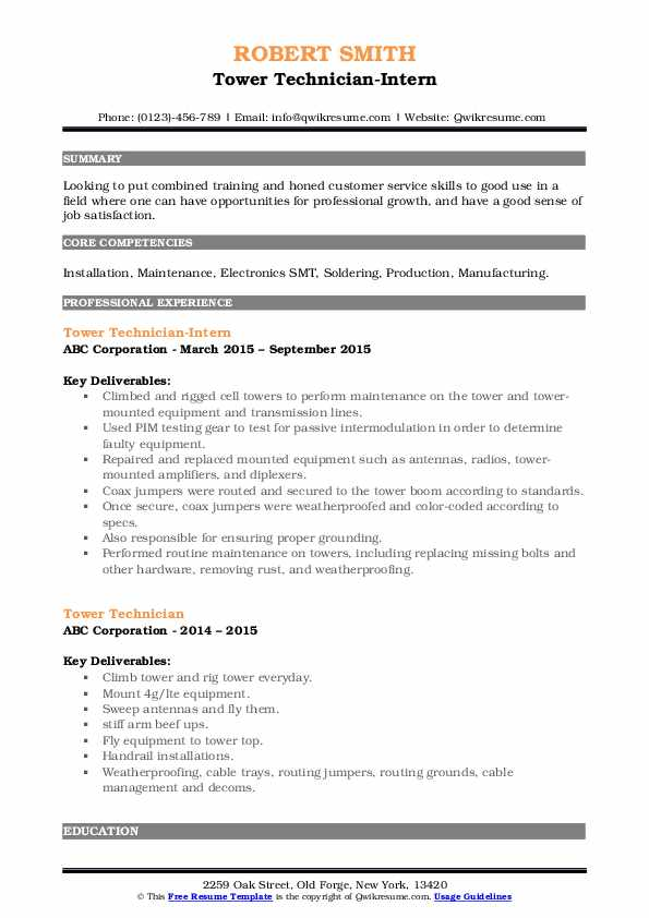 tower technician resume samples qwikresume cell pdf medication examples cpa candidate Resume Cell Tower Technician Resume