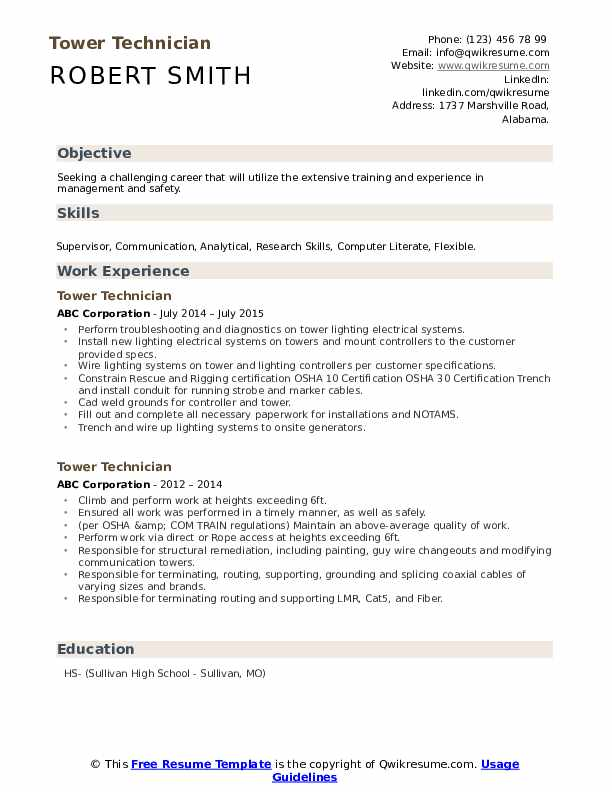tower technician resume samples qwikresume cell pdf medication examples traits on cpa Resume Cell Tower Technician Resume