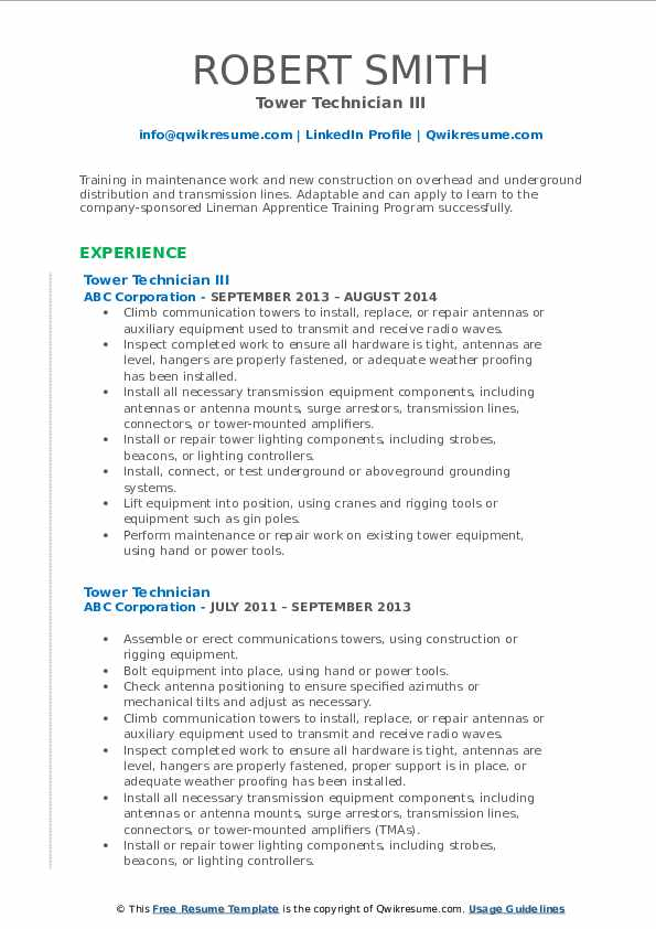 tower technician resume samples qwikresume cell pdf simple canva volunteer work sample Resume Cell Tower Technician Resume