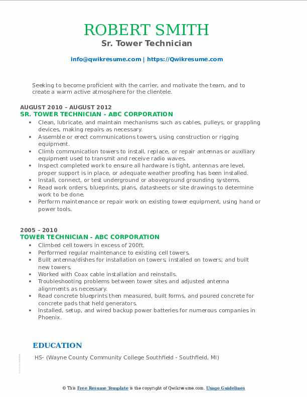 tower technician resume samples qwikresume cell pdf uncc template cancel nerd mammography Resume Cell Tower Technician Resume