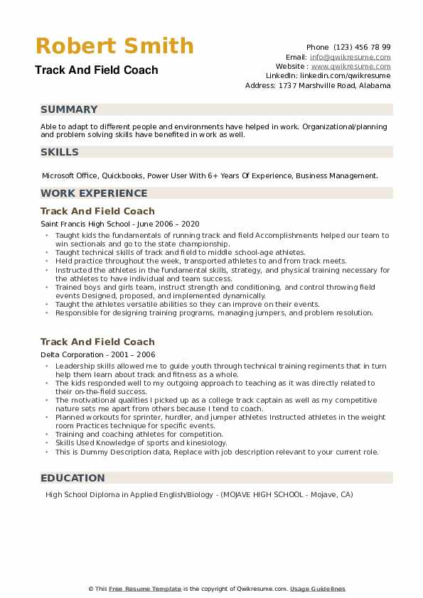 track and field coach resume samples qwikresume example pdf good objective sentence for Resume Track And Field Resume Example