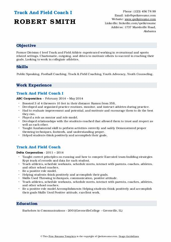 track and field coach resume samples qwikresume sample pdf objective entry level data Resume Track And Field Resume Sample