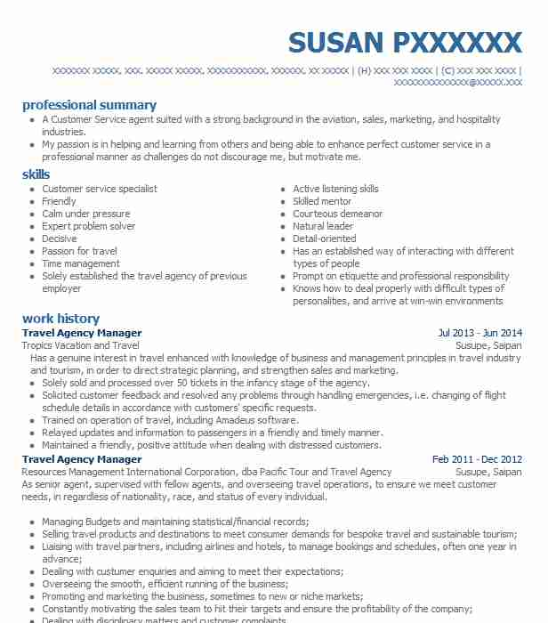 travel agency manager resume example resumes livecareer agent summary carpenter sample Resume Travel Agent Resume Summary