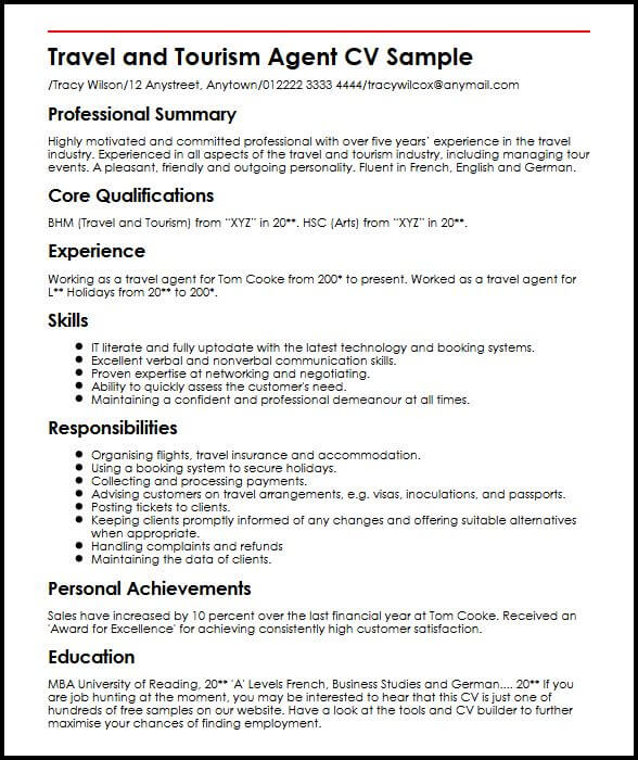 travel agent cv example myperfectcv sample resume objective for tourism students and Resume Sample Resume Objective For Tourism Students