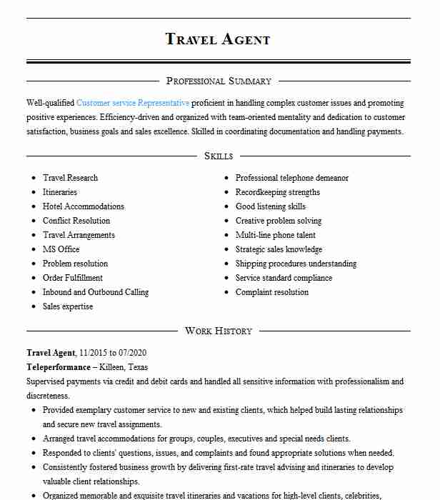 travel agent resume example and tourism resumes livecareer summary quotes sample nursing Resume Travel Agent Resume Summary