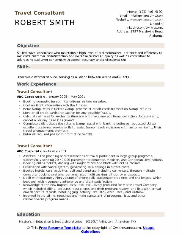 travel consultant resume samples qwikresume sample objective for tourism students pdf Resume Sample Resume Objective For Tourism Students