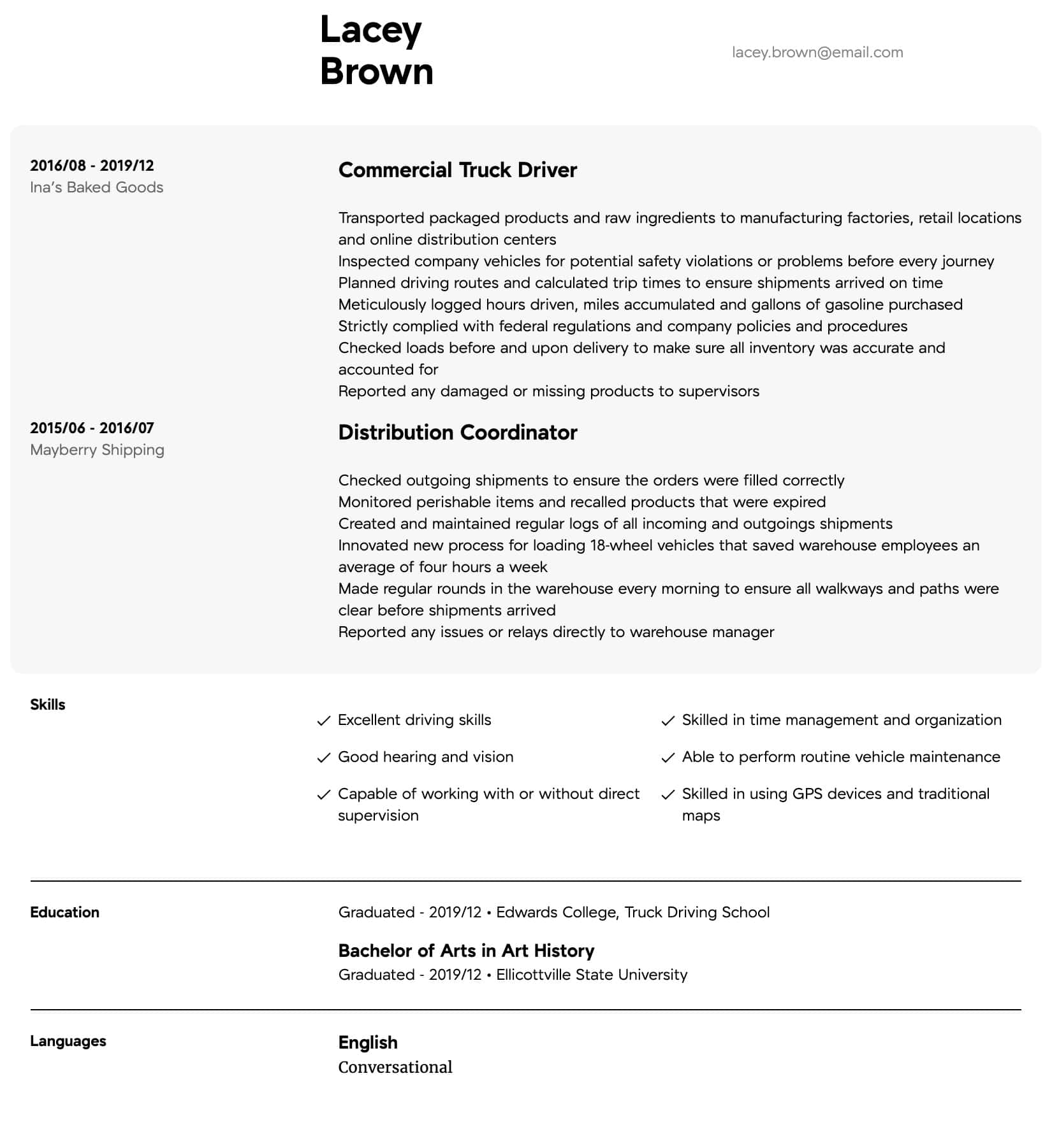truck driver resume samples all experience levels objective intermediate typical format Resume Truck Driver Resume Objective