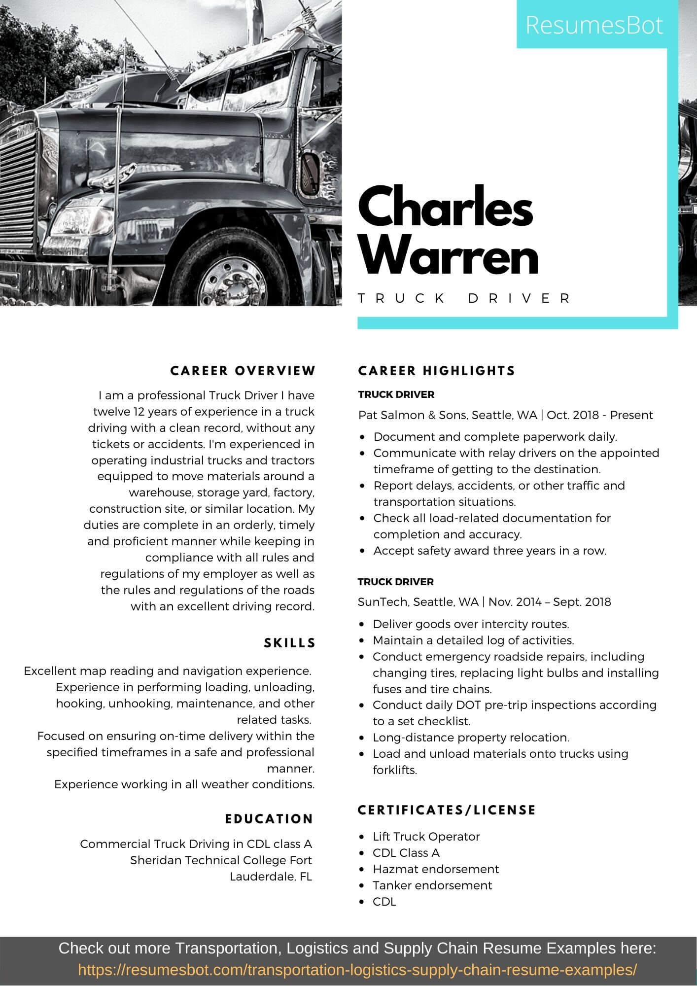 truck driver resume samples and tips pdf resumes bot objective sample example lsu Resume Driver Resume Objective Sample