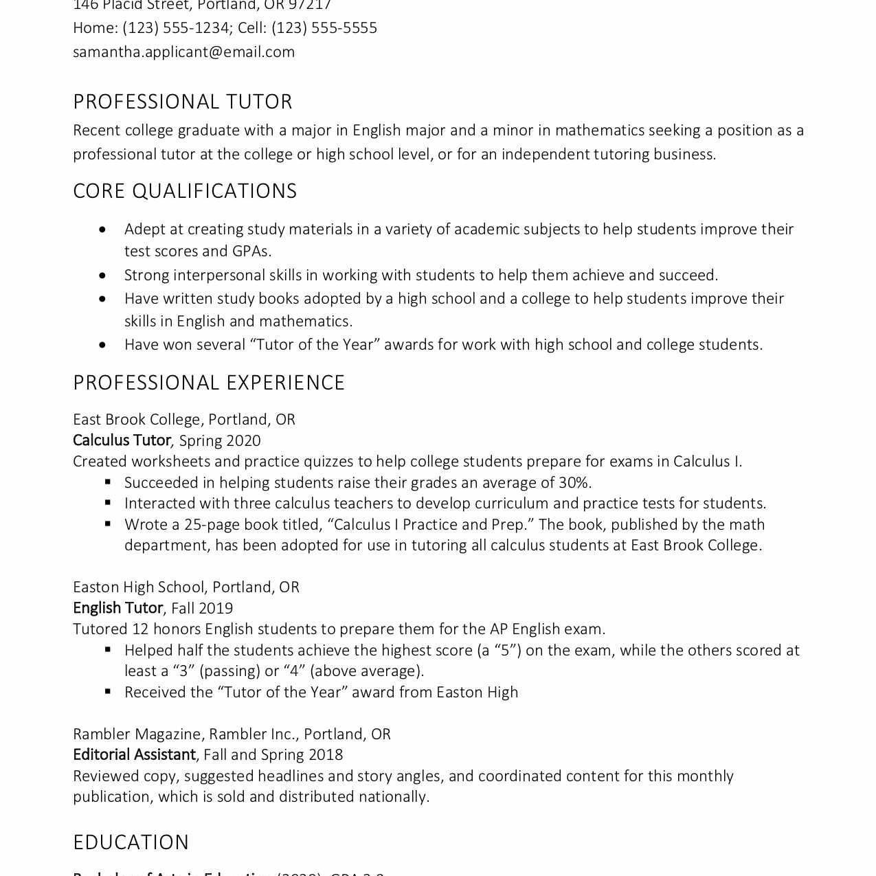 tutor resume and cover letter examples description samanthaapplicant personal assistant Resume Tutor Resume Description