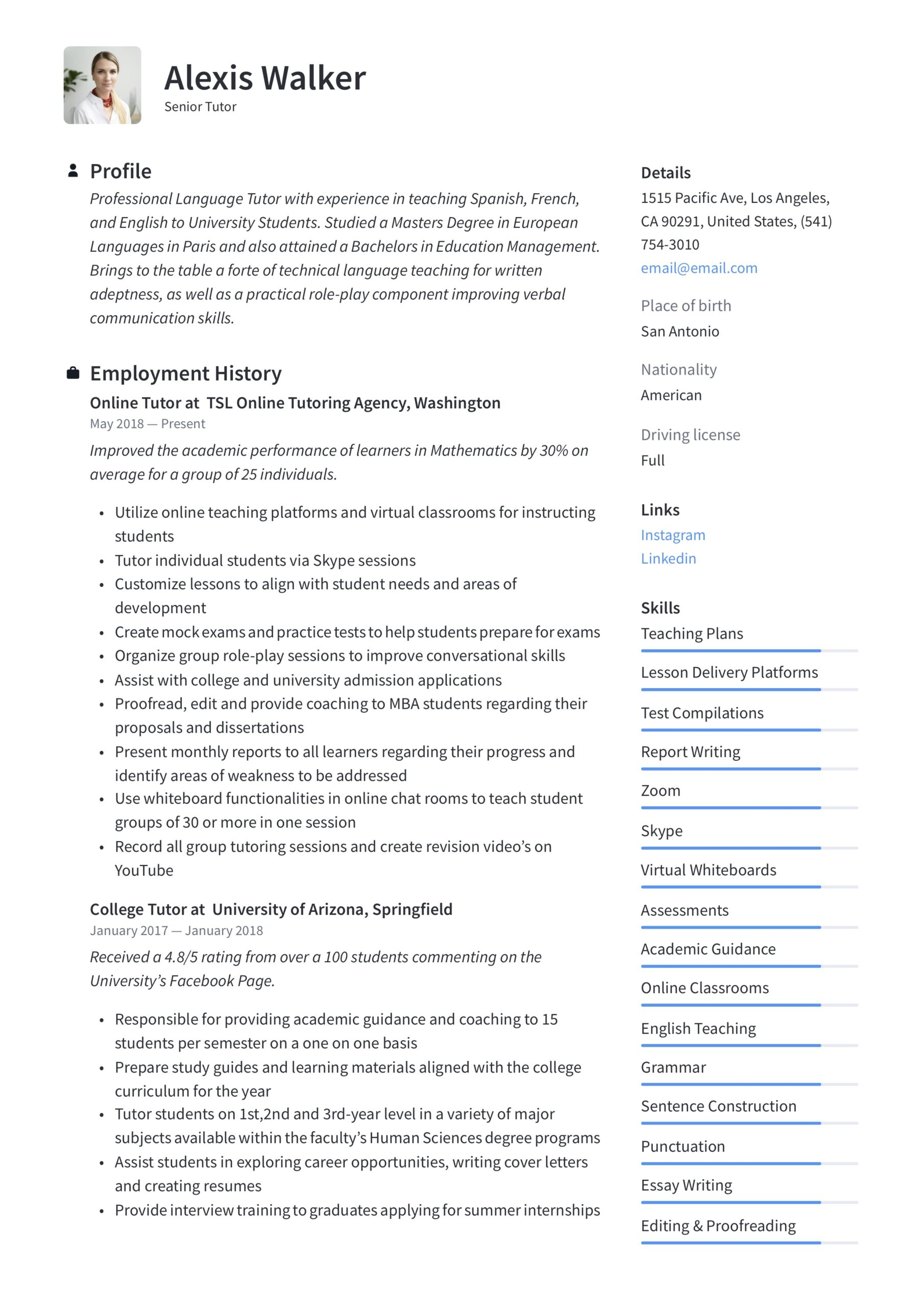 tutor resume writing guide examples description professional interests for good work and Resume Tutor Resume Description