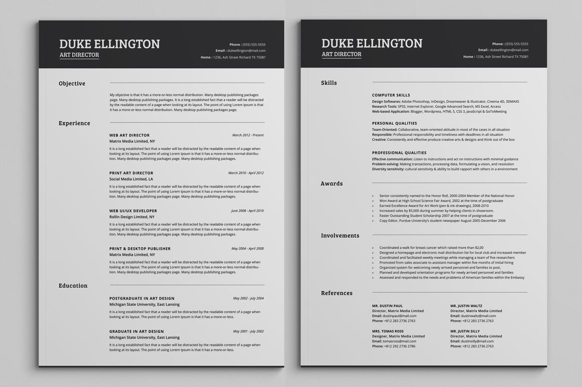 two classic resume cv template unique word free treasurer description modern templates Resume Two Page Resume Template Word