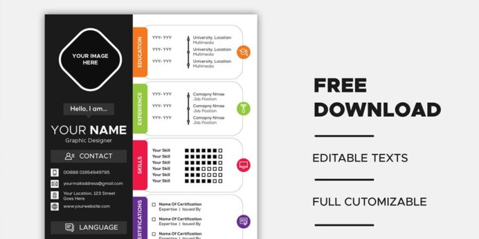 ultimate collection of free resume templates author editable template vector portfolio Resume Free Resume Templates Editable