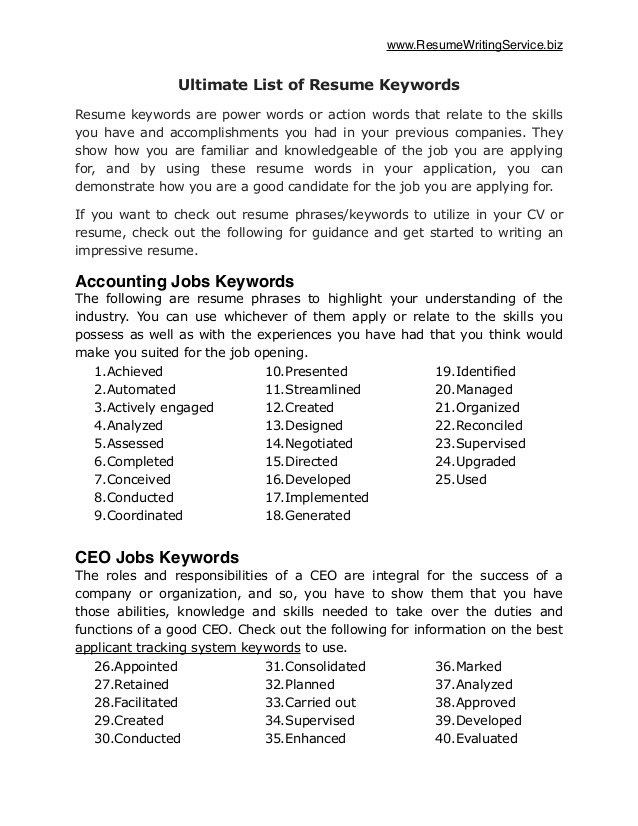 ultimate of resume keywords for leadership writing services cost childcare traineeship Resume Keywords For Leadership Resume