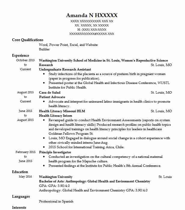 undergraduate research assistant resume example livecareer for position nursing student Resume Resume For Research Position