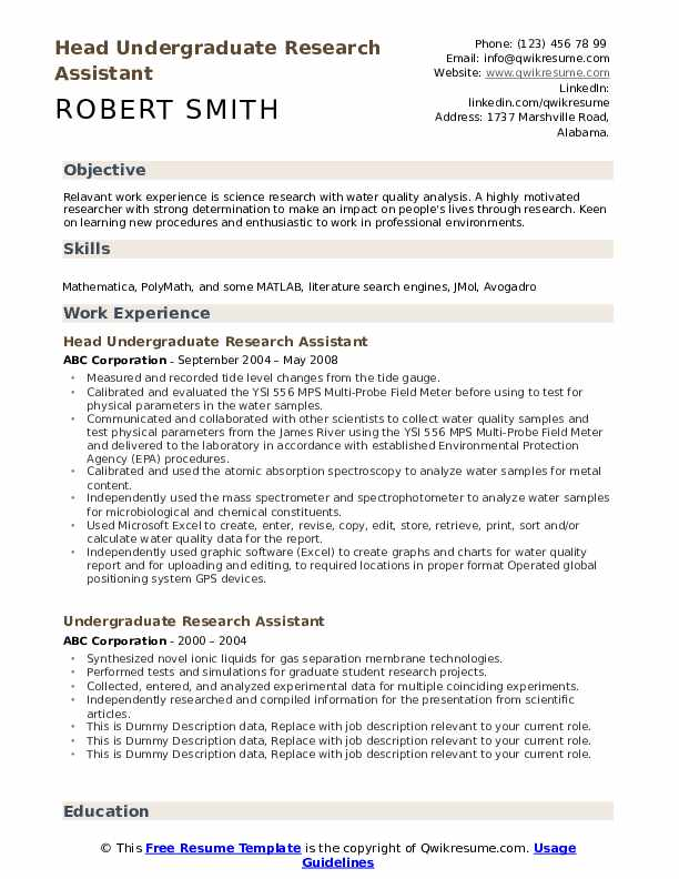 undergraduate research assistant resume samples qwikresume laboratory pdf objective for Resume Laboratory Research Assistant Resume