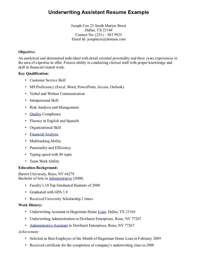 underwriting assistant resume free templates mortgage underwriter cover letter another Resume Mortgage Underwriter Resume Cover Letter