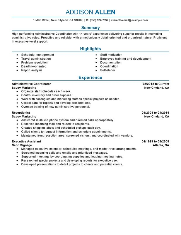 unforgettable administrative coordinator resume examples to stand out myperfectresume Resume Administrative Resume Summary Examples
