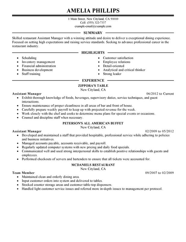 unforgettable assistant restaurant manager resume examples to stand out myperfectresume Resume Resume Format For F&b Service Steward