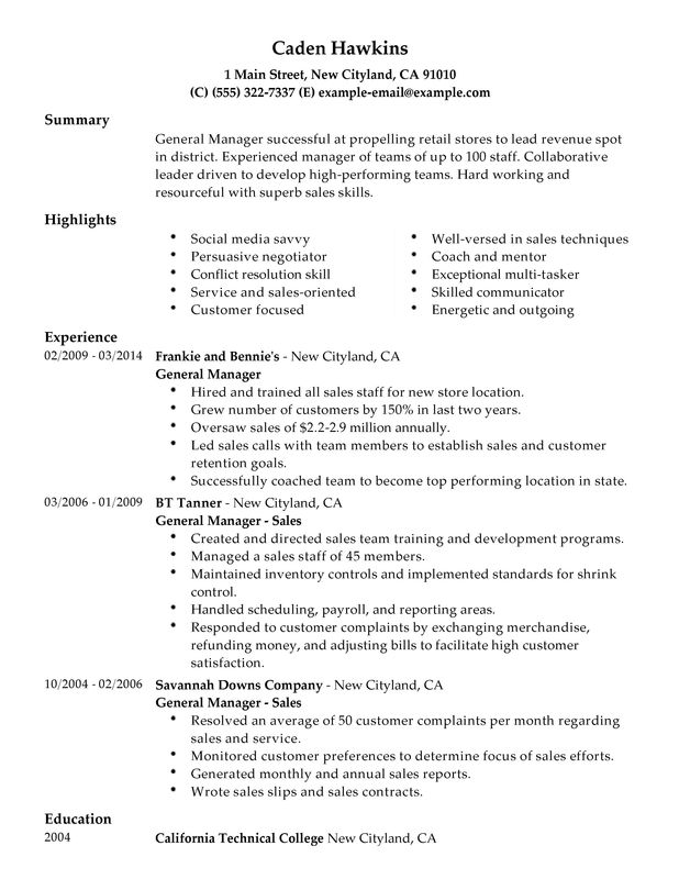 unforgettable general manager resume examples to stand out myperfectresume skills for the Resume Skills For General Manager Resume