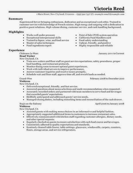 unforgettable restaurant server resume examples to stand out best example livecare retail Resume Server Experience Resume Examples