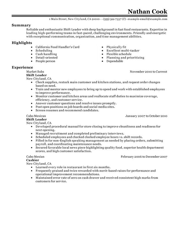unforgettable restaurant shift leader resume examples to stand out myperfectresume Resume Leadership Responsibilities Resume