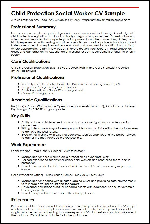 use our child protection social worker cv example sample resume for work graduate school Resume Sample Resume For Social Work Graduate School