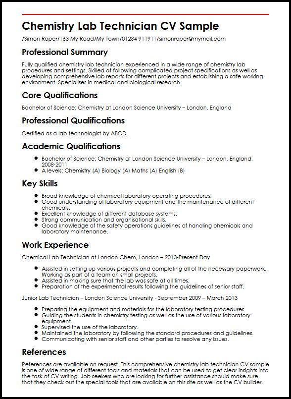 use the chemistry lab technician cv example to start yours research resume examples Resume Research Technician Resume Examples