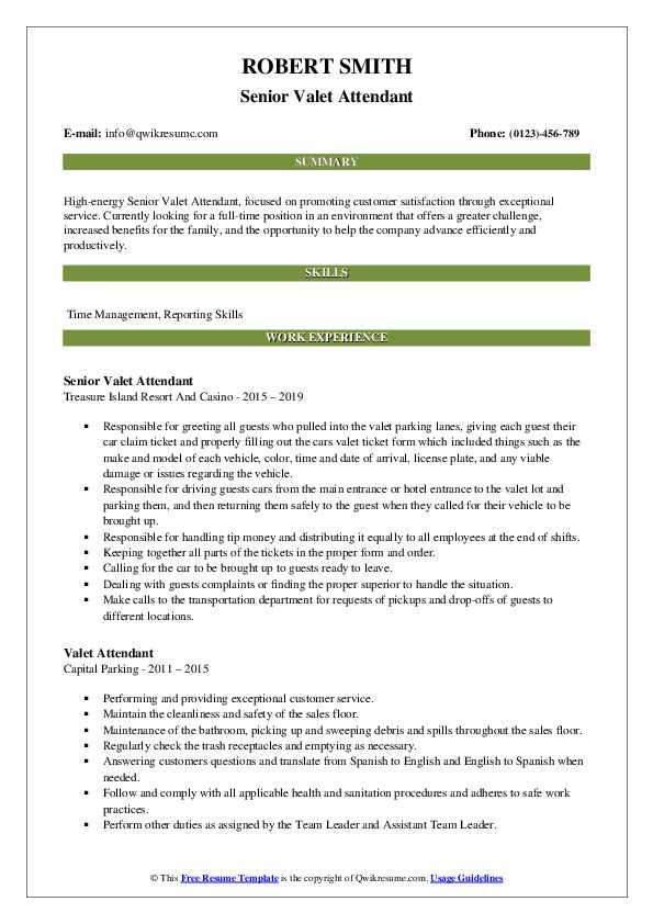valet attendant resume samples qwikresume sample pdf self employed template of objective Resume Valet Attendant Resume Sample