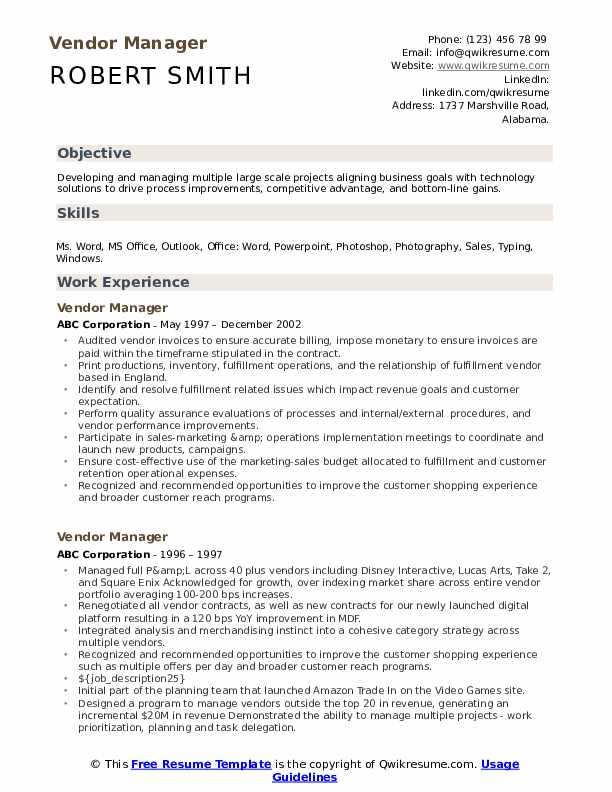 vendor manager resume samples qwikresume management pdf experienced candidate template Resume Vendor Management Resume