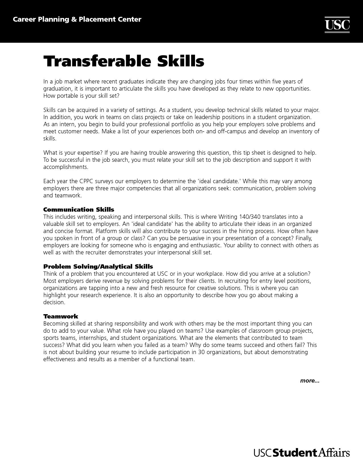 very attractive transferable skills the brilliant for resumes resume format web of to Resume Resume Checklist Of Transferable Skills