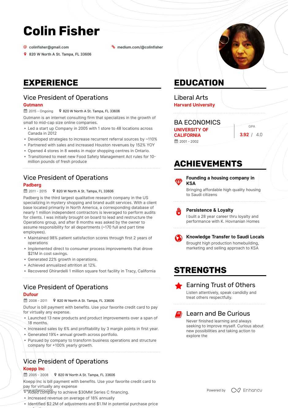 vice president of operations resume example for enhancv completely free templates bank Resume Vice President Of Operations Resume