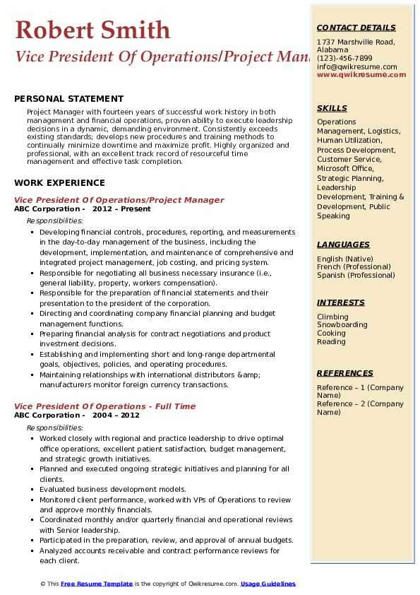 vice president of operations resume samples qwikresume pdf college admission objective Resume Vice President Of Operations Resume