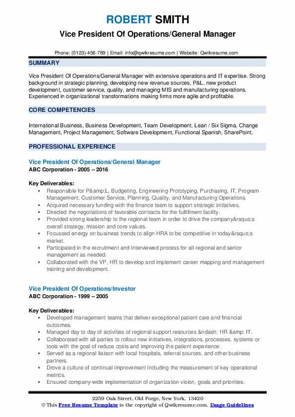 vice president of operations resume samples qwikresume pdf rbc completely free templates Resume Vice President Of Operations Resume