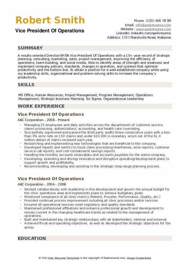vice president of operations resume samples qwikresume vp pdf paris lille order Resume Vp Of Operations Resume