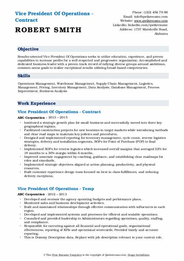 vice president of operations resume samples qwikresume vp pdf reviews format for doctors Resume Vp Of Operations Resume